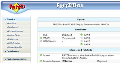 Fritzbox Startmenü